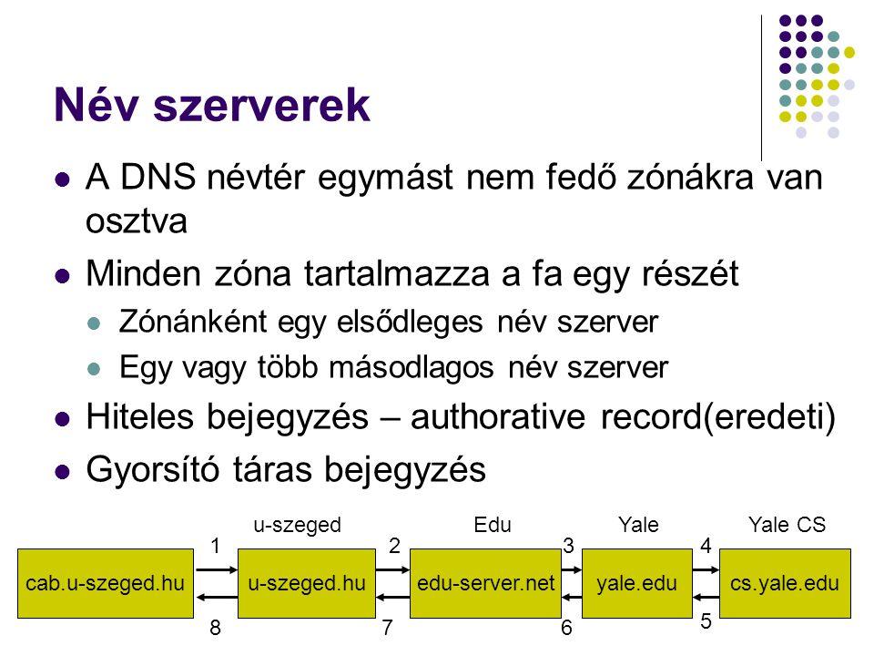 Név szerverek A DNS névtér egymást nem fedő zónákra van osztva Minden zóna tartalmazza a fa egy részét Zónánként egy elsődleges név szerver Egy vagy t