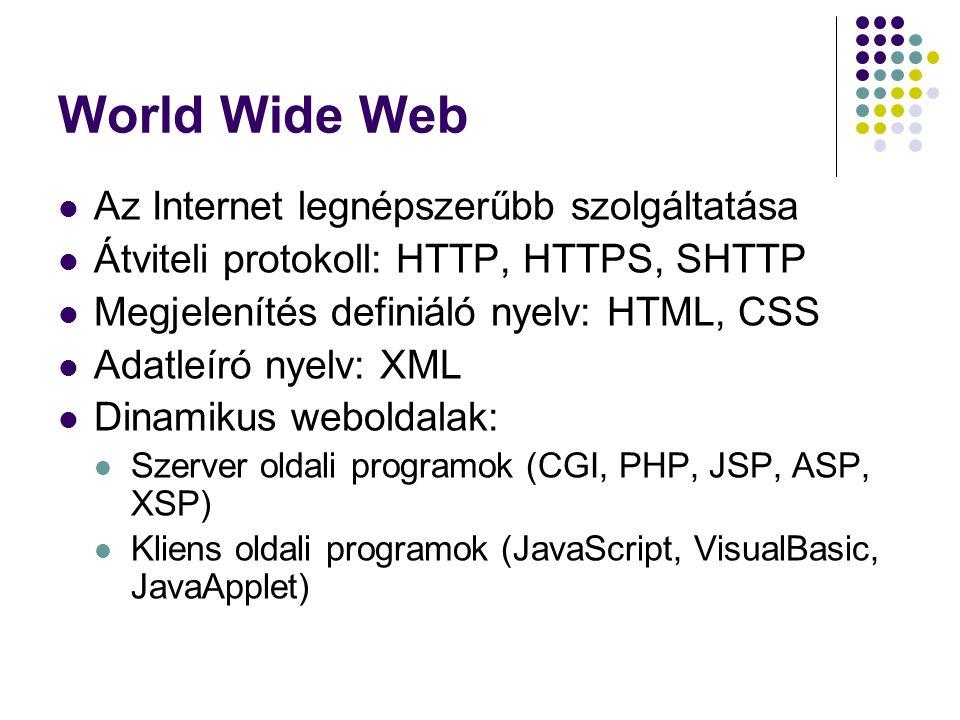 World Wide Web Az Internet legnépszerűbb szolgáltatása Átviteli protokoll: HTTP, HTTPS, SHTTP Megjelenítés definiáló nyelv: HTML, CSS Adatleíró nyelv: