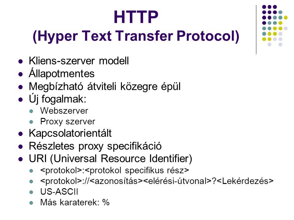 HTTP (Hyper Text Transfer Protocol) Kliens-szerver modell Állapotmentes Megbízható átviteli közegre épül Új fogalmak: Webszerver Proxy szerver Kapcsol