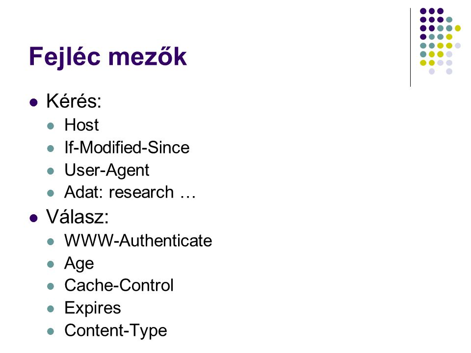 Fejléc mezők Kérés: Host If-Modified-Since User-Agent Adat: research … Válasz: WWW-Authenticate Age Cache-Control Expires Content-Type