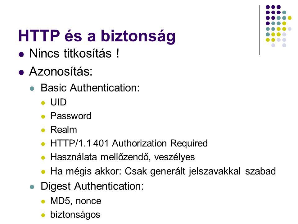HTTP és a biztonság Nincs titkosítás ! Azonosítás: Basic Authentication: UID Password Realm HTTP/1.1 401 Authorization Required Használata mellőzendő,