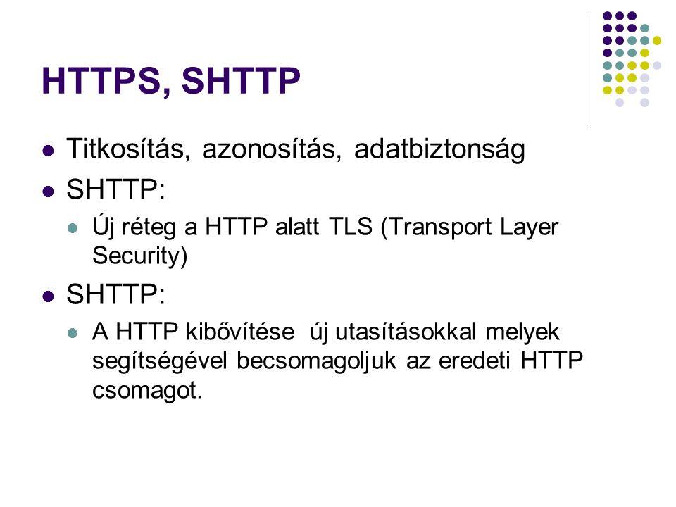 HTTPS, SHTTP Titkosítás, azonosítás, adatbiztonság SHTTP: Új réteg a HTTP alatt TLS (Transport Layer Security) SHTTP: A HTTP kibővítése új utasításokk