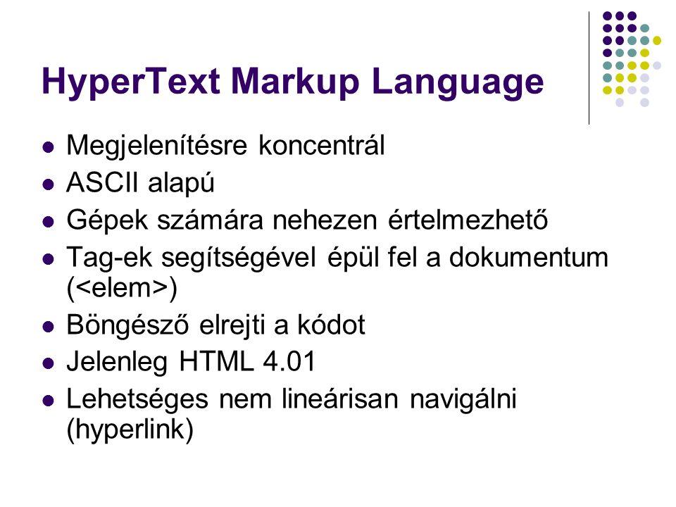 HyperText Markup Language Megjelenítésre koncentrál ASCII alapú Gépek számára nehezen értelmezhető Tag-ek segítségével épül fel a dokumentum ( ) Böngé