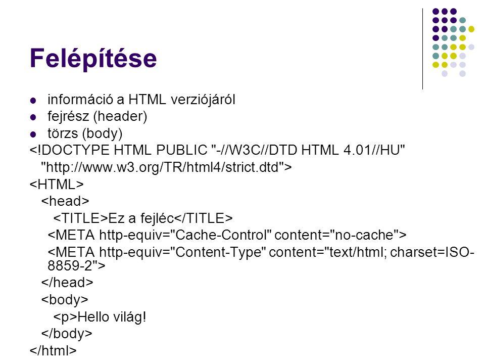 Felépítése információ a HTML verziójáról fejrész (header) törzs (body) <!DOCTYPE HTML PUBLIC
