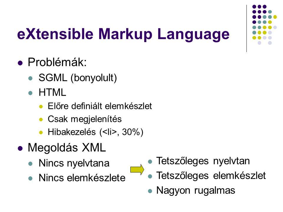 eXtensible Markup Language Problémák: SGML (bonyolult) HTML Előre definiált elemkészlet Csak megjelenítés Hibakezelés (, 30%) Megoldás XML Nincs nyelv