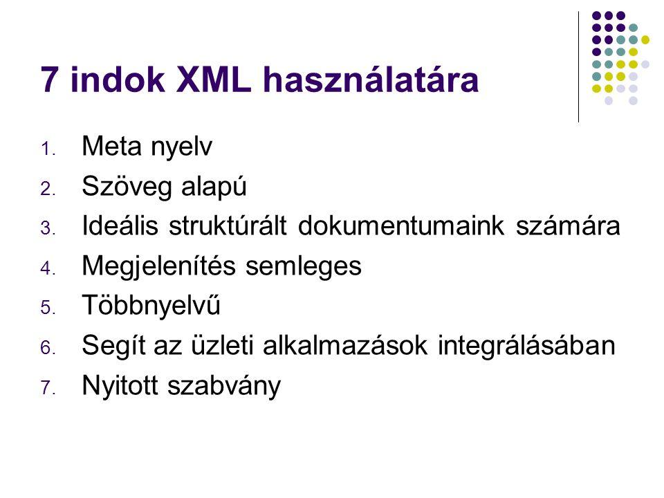 7 indok XML használatára 1. Meta nyelv 2. Szöveg alapú 3. Ideális struktúrált dokumentumaink számára 4. Megjelenítés semleges 5. Többnyelvű 6. Segít a