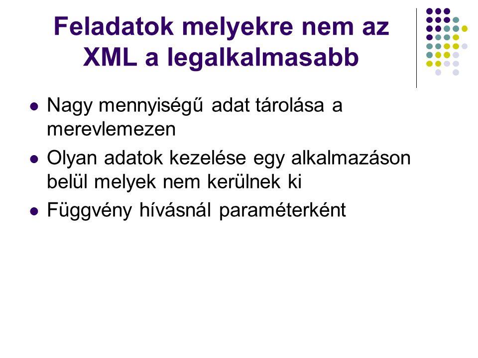 Feladatok melyekre nem az XML a legalkalmasabb Nagy mennyiségű adat tárolása a merevlemezen Olyan adatok kezelése egy alkalmazáson belül melyek nem ke