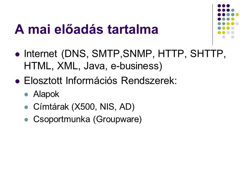 A mai előadás tartalma Internet (DNS, SMTP,SNMP, HTTP, SHTTP, HTML, XML, Java, e-business) Elosztott Információs Rendszerek: Alapok Címtárak (X500, NI