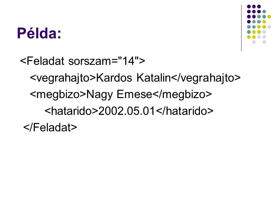 Példa: Kardos Katalin Nagy Emese 2002.05.01