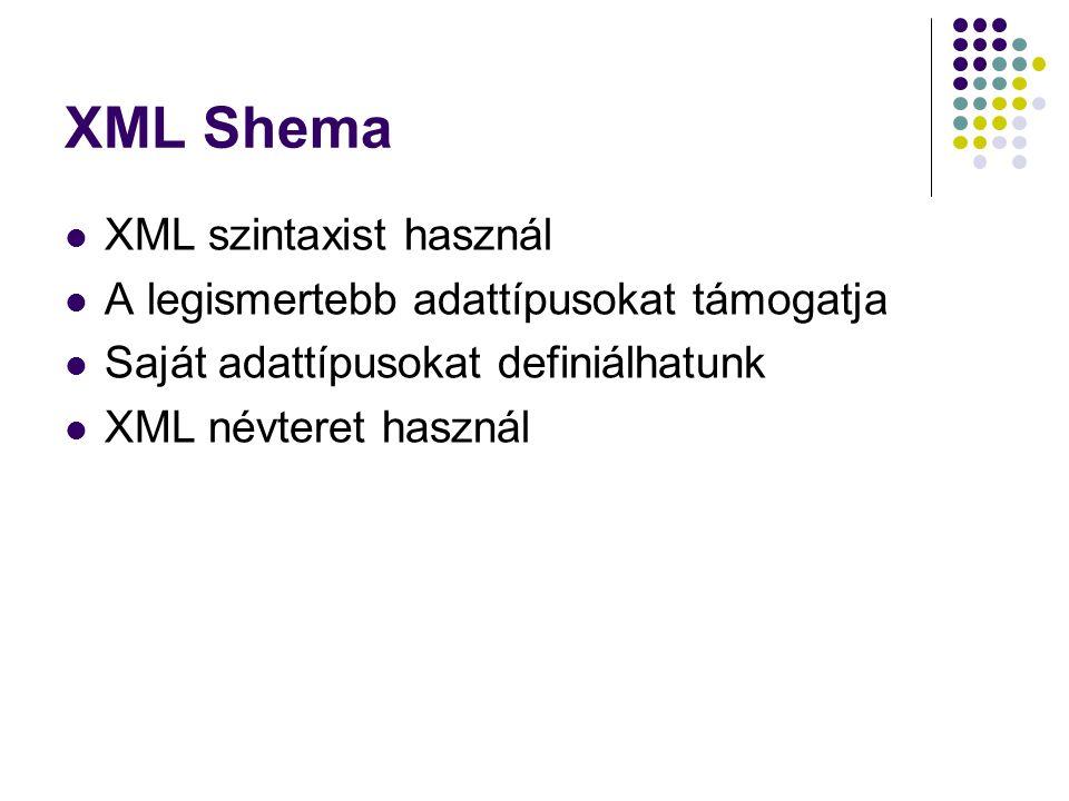 XML Shema XML szintaxist használ A legismertebb adattípusokat támogatja Saját adattípusokat definiálhatunk XML névteret használ