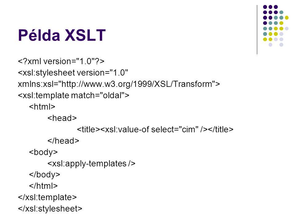 Példa XSLT <xsl:stylesheet version=
