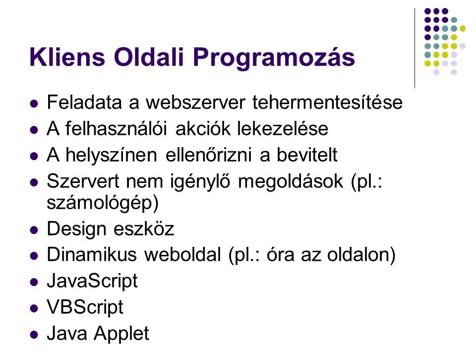 Kliens Oldali Programozás Feladata a webszerver tehermentesítése A felhasználói akciók lekezelése A helyszínen ellenőrizni a bevitelt Szervert nem igé