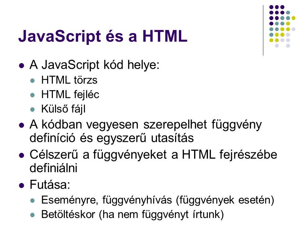 JavaScript és a HTML A JavaScript kód helye: HTML törzs HTML fejléc Külső fájl A kódban vegyesen szerepelhet függvény definíció és egyszerű utasítás C