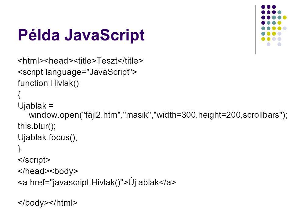 Példa JavaScript Teszt function Hivlak() { Ujablak = window.open(