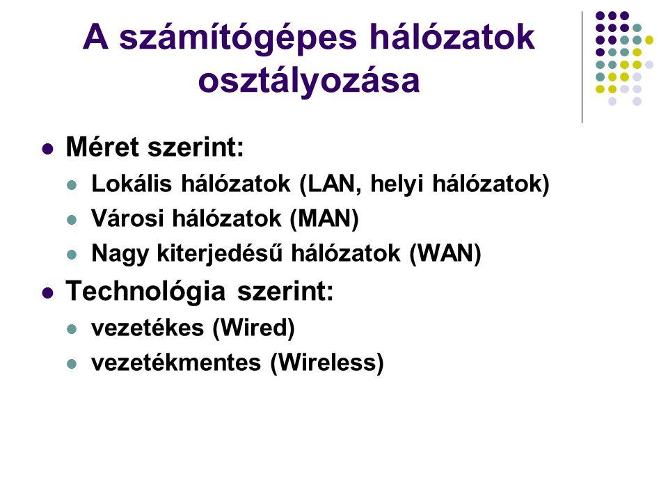 A számítógépes hálózatok osztályozása Méret szerint: Lokális hálózatok (LAN, helyi hálózatok) Városi hálózatok (MAN) Nagy kiterjedésű hálózatok (WAN)