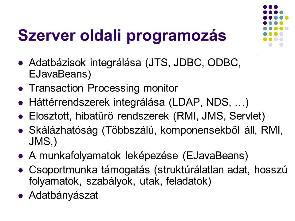 Szerver oldali programozás Adatbázisok integrálása (JTS, JDBC, ODBC, EJavaBeans) Transaction Processing monitor Háttérrendszerek integrálása (LDAP, ND