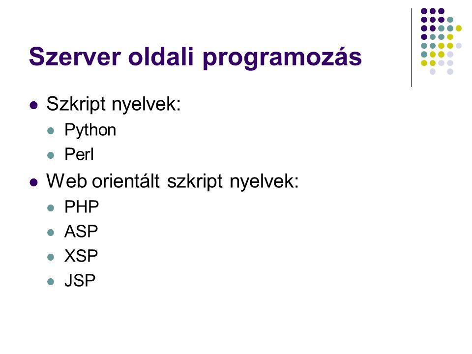 Szerver oldali programozás Szkript nyelvek: Python Perl Web orientált szkript nyelvek: PHP ASP XSP JSP