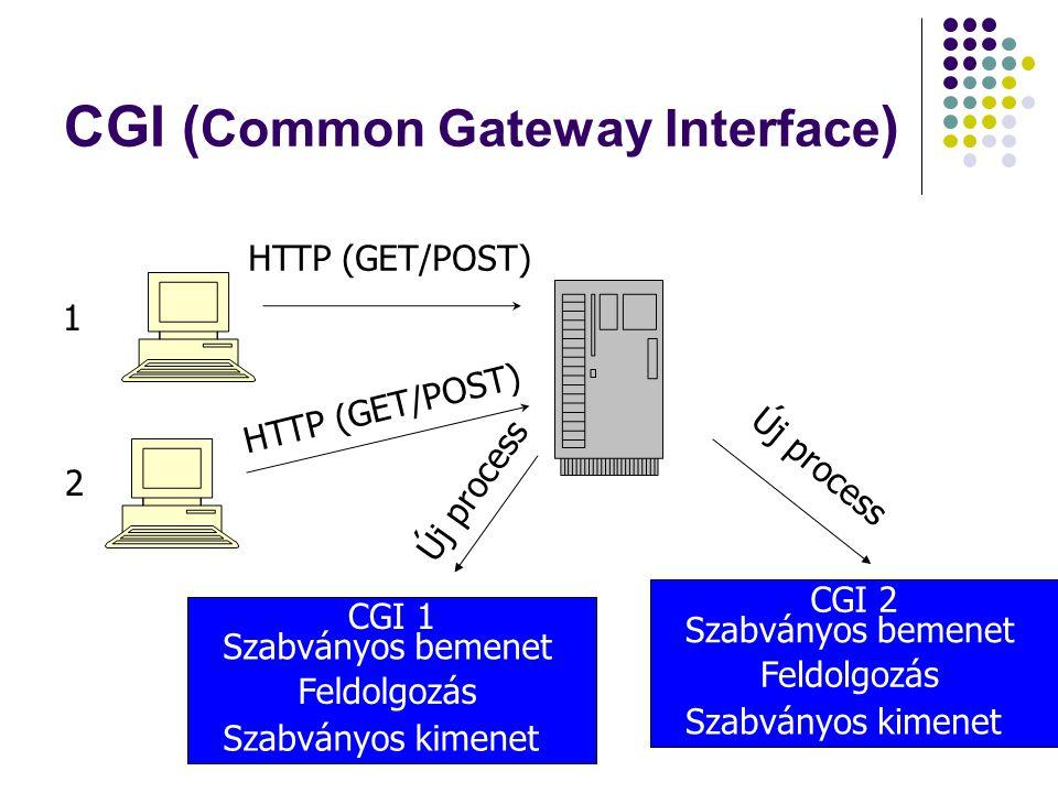 CGI ( Common Gateway Interface ) CGI 1 Szabványos bemenet Szabványos kimenet Feldolgozás HTTP (GET/POST) 1 2 Új process CGI 2 Szabványos bemenet Szabv