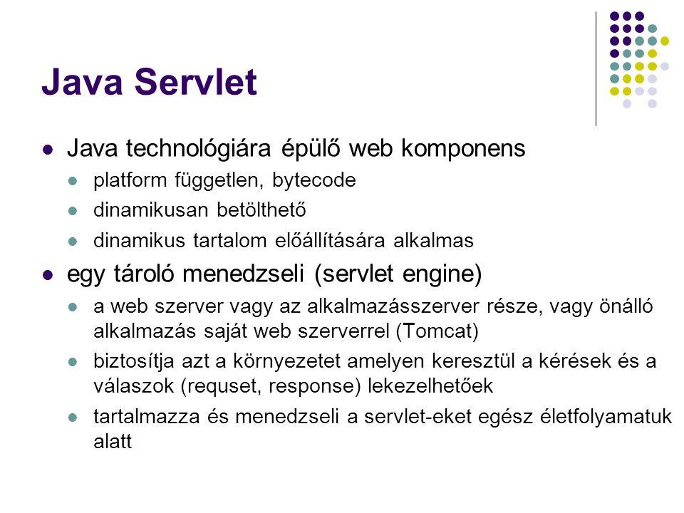 Java Servlet Java technológiára épülő web komponens platform független, bytecode dinamikusan betölthető dinamikus tartalom előállítására alkalmas egy