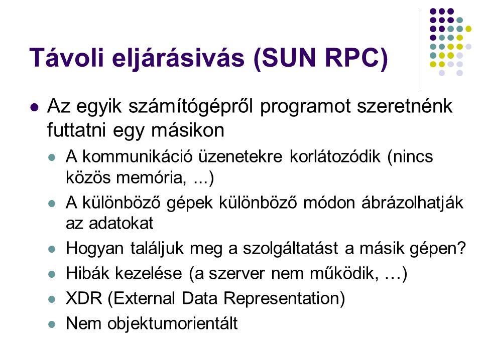 Távoli eljárásivás (SUN RPC) Az egyik számítógépről programot szeretnénk futtatni egy másikon A kommunikáció üzenetekre korlátozódik (nincs közös memó