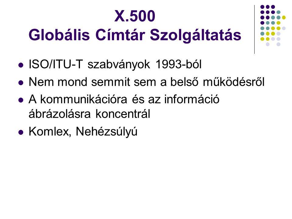 X.500 Globális Címtár Szolgáltatás ISO/ITU-T szabványok 1993-ból Nem mond semmit sem a belső működésről A kommunikációra és az információ ábrázolásra