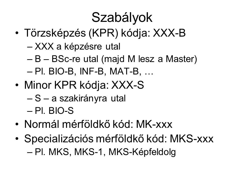 Szabályok Törzsképzés (KPR) kódja: XXX-B –XXX a képzésre utal –B – BSc-re utal (majd M lesz a Master) –Pl.