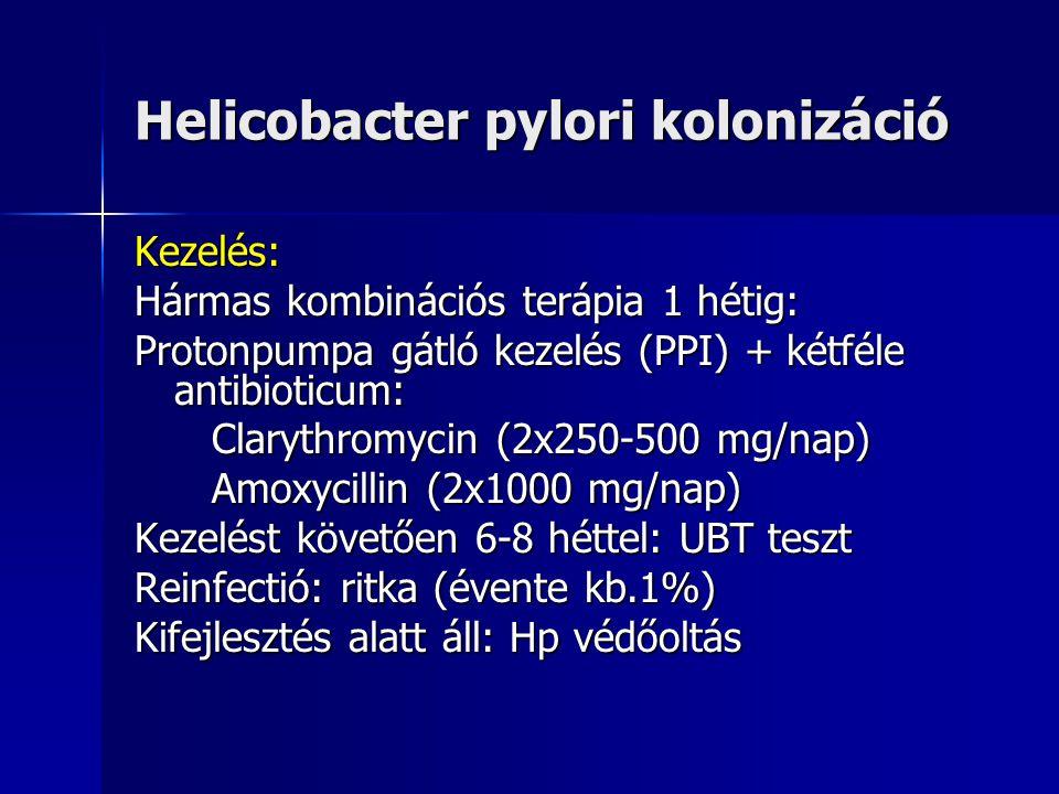 Helicobacter pylori kolonizáció Diagnosztika: Gastroscopia biopsziás mintavétellel antrumból és corpusból Urease gyors teszt SzövettanTenyésztés