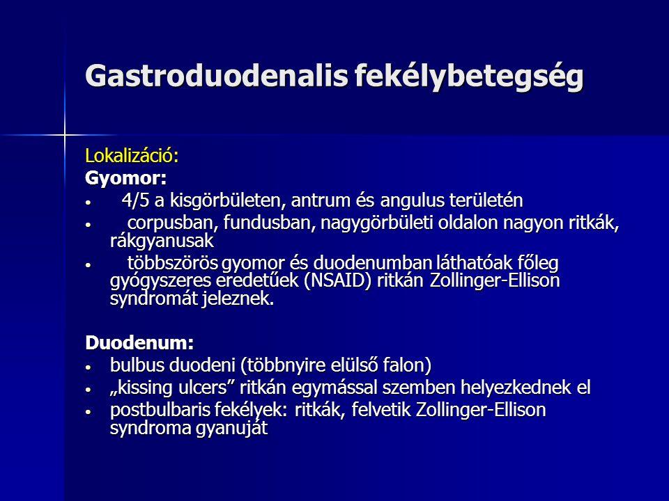 Helicobacter pylori kolonizáció Kezelés: Hármas kombinációs terápia 1 hétig: Protonpumpa gátló kezelés (PPI) + kétféle antibioticum: Clarythromycin (2x250-500 mg/nap) Clarythromycin (2x250-500 mg/nap) Amoxycillin (2x1000 mg/nap) Amoxycillin (2x1000 mg/nap) Kezelést követően 6-8 héttel: UBT teszt Reinfectió: ritka (évente kb.1%) Kifejlesztés alatt áll: Hp védőoltás