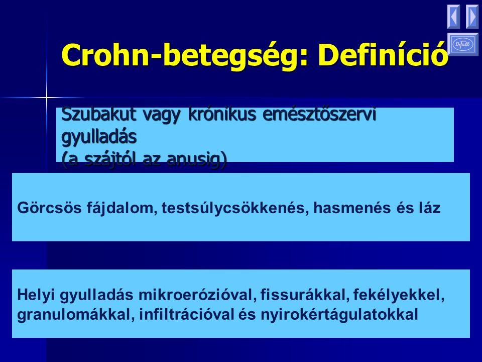 Colitis ulcerosa: Definíció A rectum és a vastagbél visszatérő gyulladásos és fekélyes megbetegedése Hasmenés, vérzés, görcsös fájdalom, étvágytalanság, testsúlycsökkenés Diffúz fekélyes gyulladás, cryptaabscessusok, infiltráció és csökkent kehelysejtszám