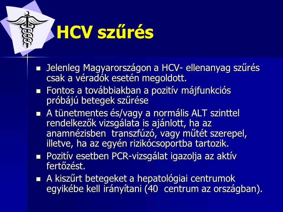 HCV- története HCV- története Korábban non-A, non-B volt az elnevezés Korábban non-A, non-B volt az elnevezés 1989-ben azonosították a kórokozót.