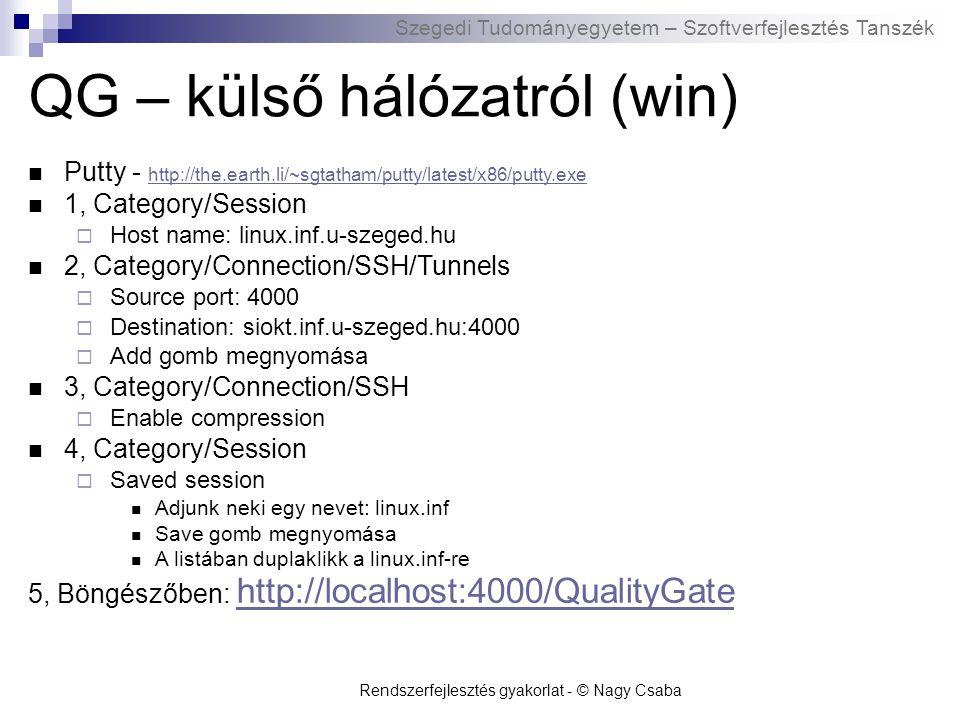 Szegedi Tudományegyetem – Szoftverfejlesztés Tanszék QG - külső hálózatról (Linux) ssh -L 4000:siokt.inf.u-szeged.hu:4000 h_s_azonosito@linux.inf.u-szeged.hu h_s_azonosito@linux.inf.u-szeged.hu Böngészőben: http://localhost:4000/QualityGate http://localhost:4000/QualityGate Rendszerfejlesztés gyakorlat - © Nagy Csaba