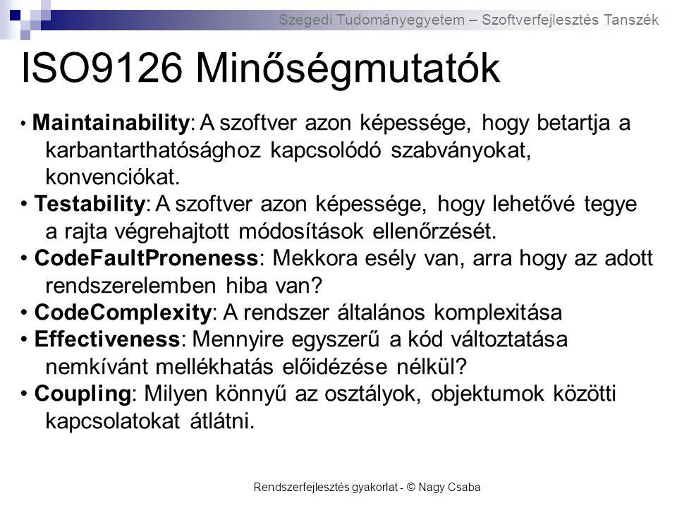 Szegedi Tudományegyetem – Szoftverfejlesztés Tanszék ISO9126 Minőségmutatók Stability: A szoftver azon képessége, hogy elkerülje a módosítások következtében fellépő előre nem látható hatásokat.