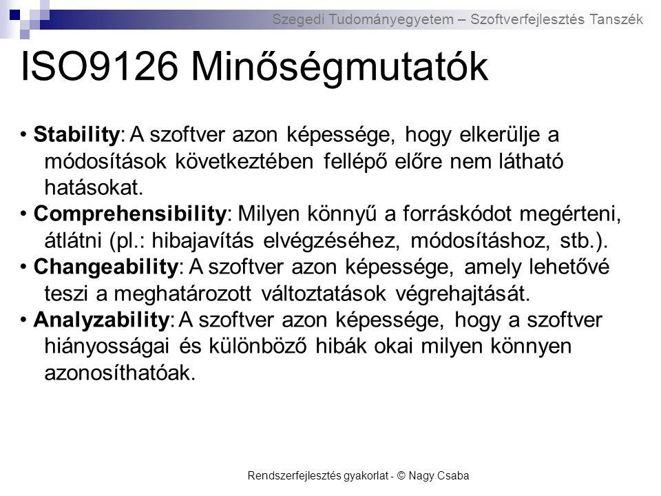 Szegedi Tudományegyetem – Szoftverfejlesztés Tanszék ISO9126 Minőségmutatók Stability: A szoftver azon képessége, hogy elkerülje a módosítások követke