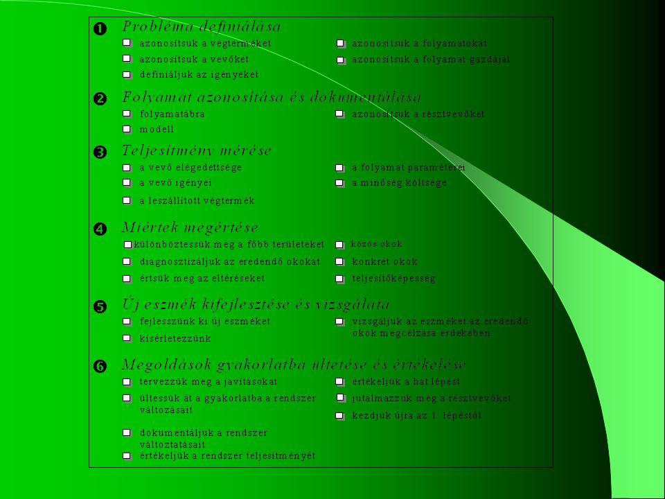 6.lépés: A megoldások gyakorlati foganatosítása és értékelése
