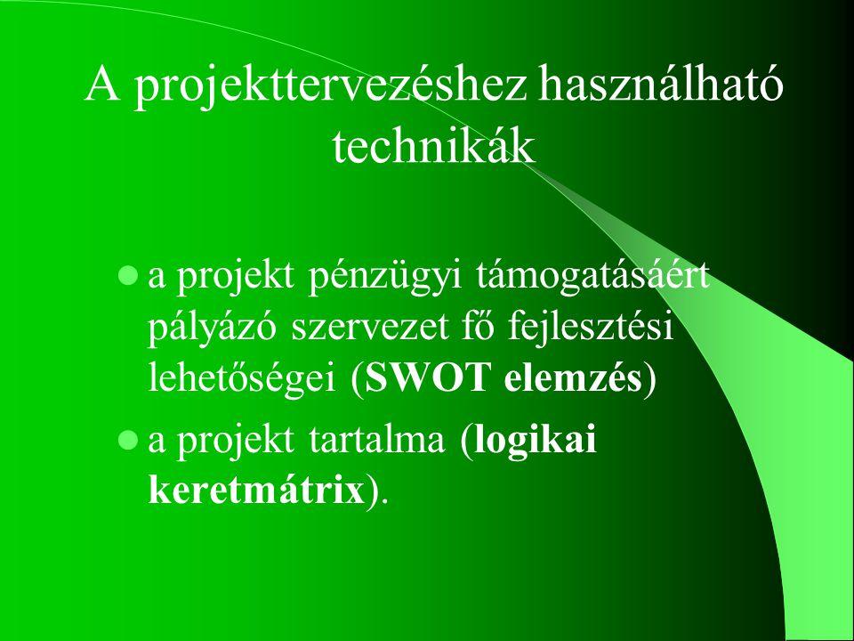 A projekt alapjai a célcsoport meghatározása a projekt megvalósításának lényegi elemei (műszaki, pénzügyi és humánerőforrás-igény) a megvalósítás korlátai (idő, pénz, infrastruktúra, stb.) a létrejövő eredmény a projekt működtetése, fenntartása (költség- és forrásigény) a projekt várható megtérülése
