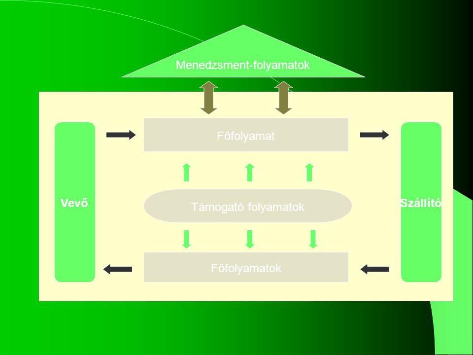 Vezetési folyamatok A szervezet irányításával, stratégiájának meghatározá- sával és megvalósításával kapcsolatos folyamatok.