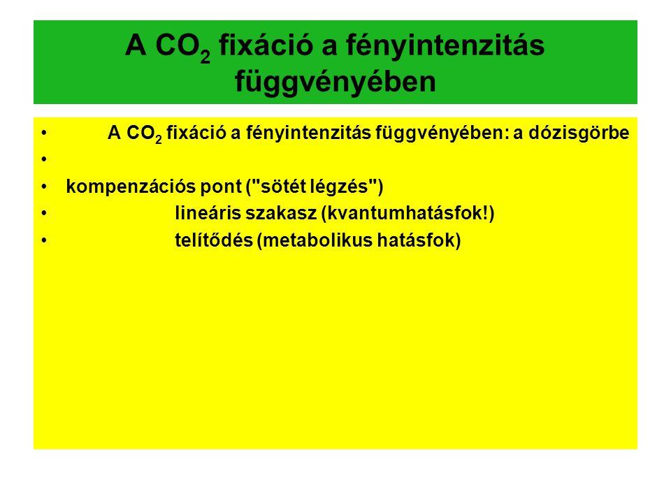 A CO 2 fixáció a fényintenzitás függvényében A CO 2 fixáció a fényintenzitás függvényében: a dózisgörbe kompenzációs pont (