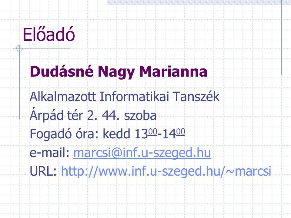 Előadó Dudásné Nagy Marianna Alkalmazott Informatikai Tanszék Árpád tér 2. 44. szoba Fogadó óra: kedd 13 00 -14 00 e-mail: marcsi@inf.u-szeged.humarcs