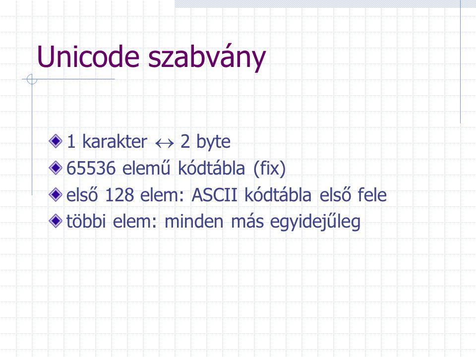 Unicode szabvány 1 karakter  2 byte 65536 elemű kódtábla (fix) első 128 elem: ASCII kódtábla első fele többi elem: minden más egyidejűleg