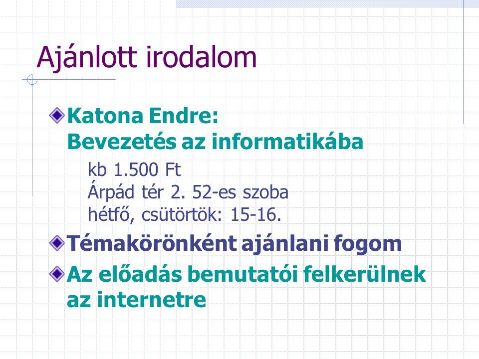 Ajánlott irodalom Katona Endre: Bevezetés az informatikába kb 1.500 Ft Árpád tér 2. 52-es szoba hétfő, csütörtök: 15-16. Témakörönként ajánlani fogom