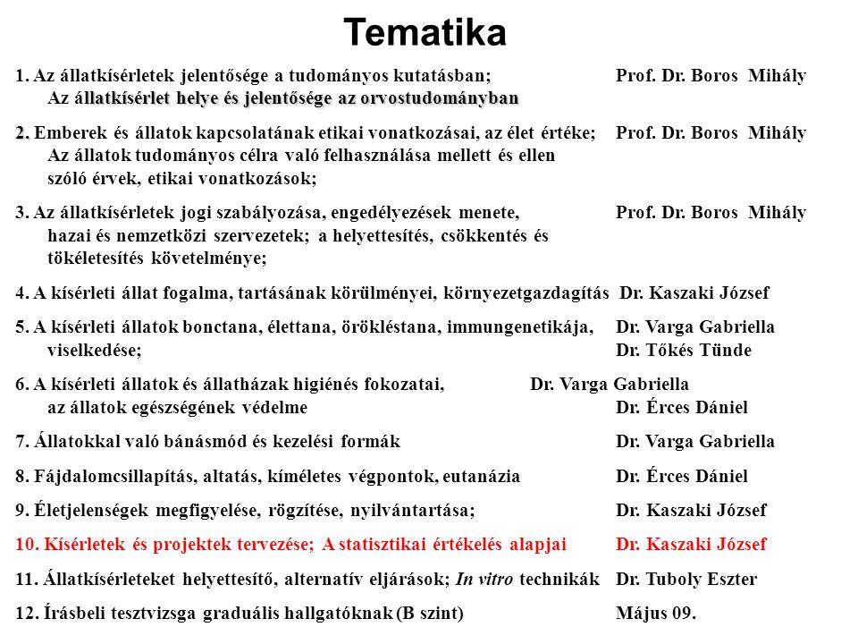 1. Az állatkísérletek jelentősége a tudományos kutatásban;Prof. Dr. Boros Mihály llatkísérlet helye és jelentősége az orvostudományban Az állatkísérle