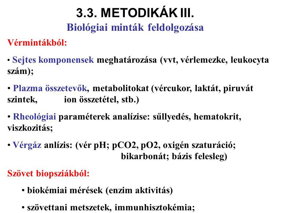 Vérmintákból: Sejtes komponensek meghatározása (vvt, vérlemezke, leukocyta szám); Plazma összetevők, metabolitokat (vércukor, laktát, piruvát szintek,