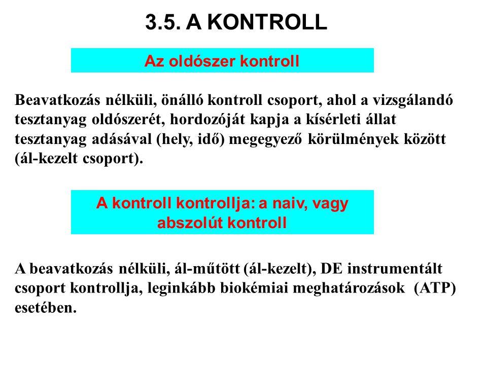 3.5. A KONTROLL A kontroll kontrollja: a naiv, vagy abszolút kontroll A beavatkozás nélküli, ál-műtött (ál-kezelt), DE instrumentált csoport kontrollj