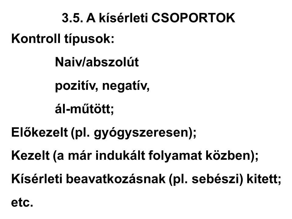 3.5. A kísérleti CSOPORTOK Kontroll típusok: Naiv/abszolút pozitív, negatív, ál-műtött; Előkezelt (pl. gyógyszeresen); Kezelt (a már indukált folyamat