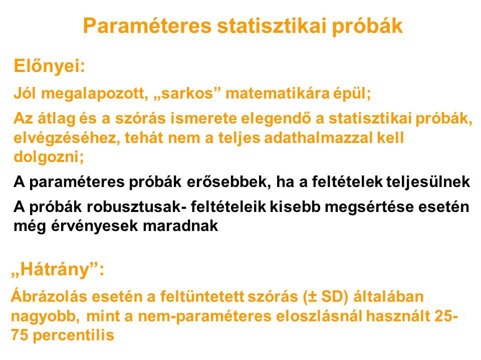 """Paraméteres statisztikai próbák Előnyei: Jól megalapozott, """"sarkos"""" matematikára épül; Az átlag és a szórás ismerete elegendő a statisztikai próbák, e"""