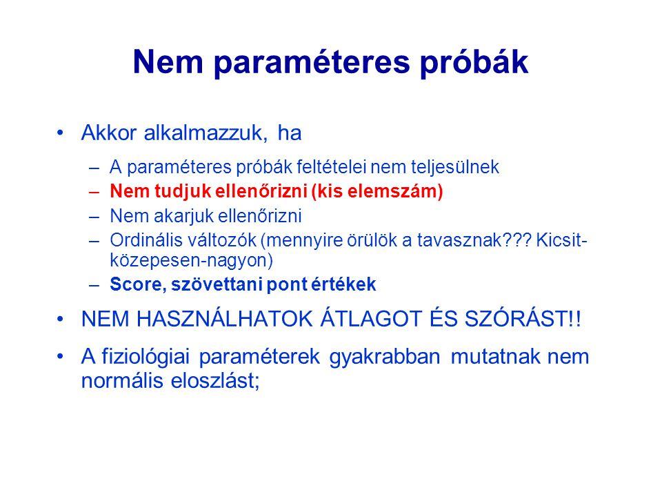 Nem paraméteres próbák Akkor alkalmazzuk, ha –A paraméteres próbák feltételei nem teljesülnek –Nem tudjuk ellenőrizni (kis elemszám) –Nem akarjuk elle