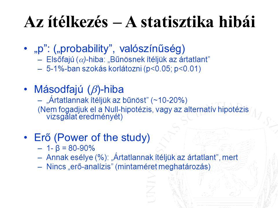 """""""p"""": (""""probability"""", valószínűség) –Elsőfajú (  )-hiba: """"Bűnösnek ítéljük az ártatlant"""" –5-1%-ban szokás korlátozni (p<0.05; p<0.01) Másodfajú (  )-"""