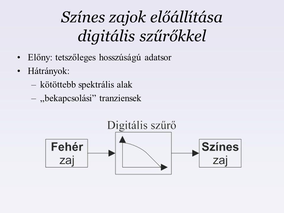 """Színes zajok előállítása digitális szűrőkkel Előny: tetszőleges hosszúságú adatsor Hátrányok: –kötöttebb spektrális alak –""""bekapcsolási"""" tranziensek"""