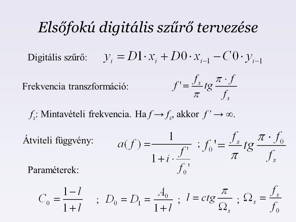 Elsőfokú digitális szűrő tervezése Frekvencia transzformáció: Átviteli függvény: Paraméterek: Digitális szűrő: f s : Mintavételi frekvencia. Ha f → f
