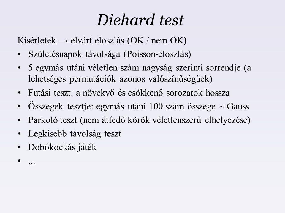 Diehard test Kísérletek → elvárt eloszlás (OK / nem OK) Születésnapok távolsága (Poisson-eloszlás) 5 egymás utáni véletlen szám nagyság szerinti sorre